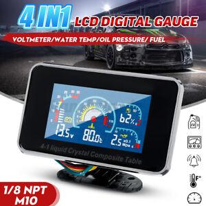 4in1 12-24V LCD Auto Digital Alarm Anzeige Voltmeter/Öldruck/Fuel / Wasser Temp