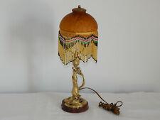 ANCIENNE LAMPE en BRONZE Forme de FEMME époque ART NOUVEAU avec Pâte de VERRE