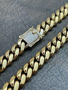 Men's Miami Cuban Link Chain Real 14k Gold Over Stainless Hip Hop Diamond Lock
