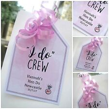 """5 x """"i do crew"""" crystal HEN DO HEN PARTY THANK YOU GIFT LABEL GIFT TAGS personal"""