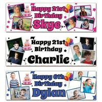 2 Personalised Birthday Banner Photo Children Adult Celebration Party Poster