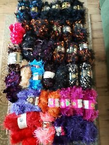 LOT 36+ Skeins Lion Brand Yarn Fun Fur Fancy Fur Eyelash Yarn New and Partials