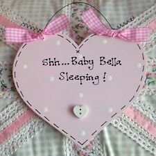 PERSONALISED Name Plaque Sign ~ SHH BABY SLEEPING ~ New Baby Boy Girl Pink Blue