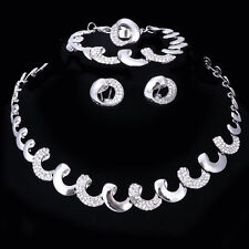 Fashion Lady Wedding Dress Crystal Necklace Earrings Bracelet Ring Jewelry Sets