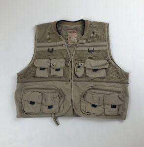 Mens Master Sportsman Mesh Fishing Bird Hunting Vest w/Pockets Sz 2XL Tan Beige