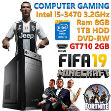 PC COMPUTER DA GIOCO GAMING QUAD CORE i5-3470 RAM 8GB HDD 1TB NVIDIA GT710 2GB