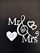 5 x Mr & Mrs with treble clef/hearts card toppers, wedding, anniversary die cut.