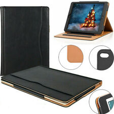 For Apple iPad MINI 4 Genuine Leather Black TAN Magnetic Smart Stand Case Cover
