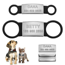Personalised Dog Cat ID Tag Stainless Steel Slide-On Pet Engraved Tag Black S L