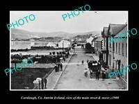 OLD LARGE HISTORIC PHOTO OF CARNLOUGH ANTRIM IRELAND, THE MAIN ST & STORES c1900