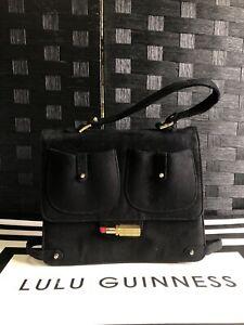 Lulu Guinness Lipstick Lottie Ultra Suede Black Handbag-Defective|Box(L01-B)