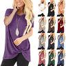 Boho Womens Short Sleeve Knot T-Shirt Summer Casual Loose Twist Knot Tops Blouse