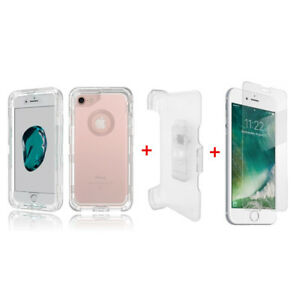 For iPhone 7/8+Plus Transparent Defender Case Cover w/Clip fits Otterbox Clear