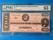Us Paper Money-Choice Uncirculated-Pmg(63)-1864 $2 Confederate States(T-70)