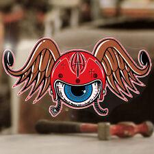 Flying Helmet Pegatina Sticker autocollante Eye Old School Hot Rod 150mm