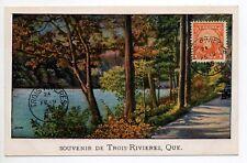 CANADA carte postale ancienne QUEBEC foret Souvenir de TROIS RIVIERES