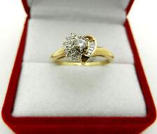 Estate 10k Yellow Gold Natural Diamond 0.25 tcw HEART Shape Cluster Ring 8.75sz