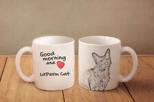 "LaPerm Cat - ceramic cup, mug ""Good morning and love"", Usa"