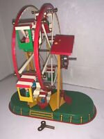 JW Wind-up Tin Litho Toy Ferris Wheel Germany Vintage w/Key Works Wagner