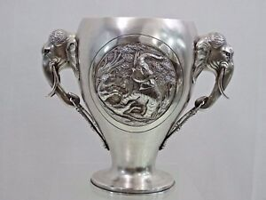 ANTIQUE SILVER WINE COOLER ELEPHANT TIGER MOTIF CHAMPAGNE BUCKET Oriental India