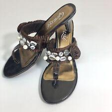 Grazie Giada Brown Rhinestone And White Bead Kitten Heel Sandal Sz 8
