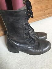 All Saints Rare Military Charcoal Disstressed Leather Ladies Boots Uk5/38