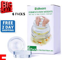Easy Fermentation Glass Weight with Handles for Any Wide Mouth Mason Jar, 6 PCS