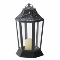 Midnight Garden Black Metal Candle Clear Glass Lantern