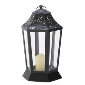 Midnight Garden Black Metal Candle Clear Glass Lantern