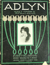 John T Hall Adlyn Waltzes Antique Sheet Music 1897 Piano Solo Scarce