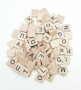 Scrabble Game Wood Tiles Crafts Replacement Parts 98 Pieces