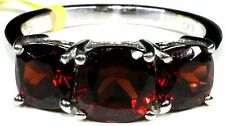 Mozambique Garnet Ring in Platinum Overlay Sterling Silver (Size 8) TGW 5.06 Cts