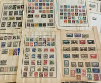 WORLDWIDE STAMP LOT ON ALBUM PAGES, STAMPS FROM OVER 30 WW COUNTRIES (NO U.S.)