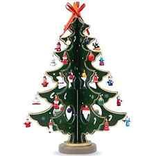 Wooden Tabletop 12.5 Inch Christmas Tree w/ Miniature Christmas Ornamentsl Decor