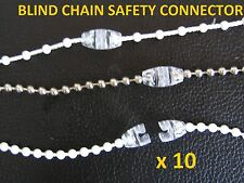 10 x Child Safe clear Blind Beaded / Bead control chain snap connectors joiners