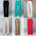 Women Banded High Waist Fold Over Palazzo Wide Leg Linen Pant Trouser Career