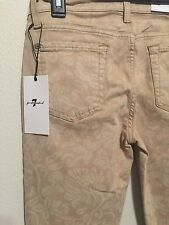 7 FOR ALL MANKIND Sz27 GWENEVERE CROP SKINY-STRETCH FLORAL LIGHT KHAKI$189.00