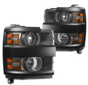 For 15-19 Chevy Silverado 2500HD 3500 HD Projector Headlight Headlamp Lamp Black