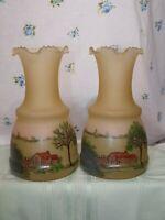 """2 Art Glass Studio Hand Blown Murano Style Vase Hand Painted Ruffled Rim 10.5"""""""