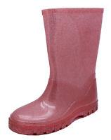 GIRLS DUSKY PINK GLITTER WELLIES RAIN SPLASH SCHOOL WELLINGTONS BOOTS SIZES 4-11