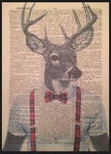 Stag Head Print Vintage Dictionary Page Wall Art Picture Red Tartan Deer Hipster