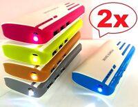 2x Externer Akku 30000mAh Power Bank Zusatzakku Akku Ladegerät USB Batterie