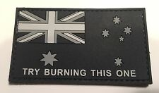 "Australian Subdued Flag Patch, PVC / Rubber"", Try Burning This One"" Hook Rear"