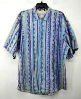 VTG Fast Breakers Mens Geo Print Button-Up Short Sleeve Casual Cotton Shirt XL