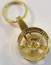 GOLD ALLOY WHEEL KEYRING 5 SPOKE DISHED SPLIT RIM GREAT XMAS NOVELTY GIFT IDEA