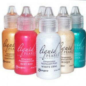 1/2 ounce Liquid Pearls Ruby Red or Lemon Yellow Paint Ranger Ink Scrapbook Card