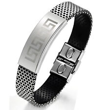 "Mens Unisex Stainless Steel Black Rubber Bracelet 8"" G9"