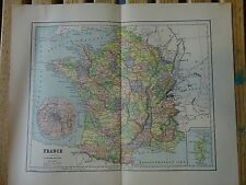 Nice colored map of France.  Pub. in 1895 in The People's Cyclopedia.