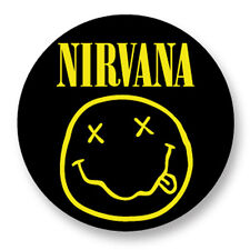 "Pin Button Badge Ø25mm 1"" Nirvana Kurt Cobain Grunge Smiley Face Jaune Yellow"