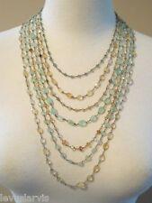 Tourmaline & Citrine Semi Precious Safia 7 Strand Necklace Pearl Clasp $1500